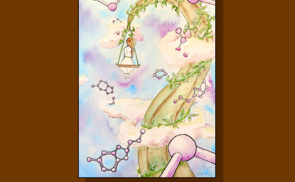 "Brown book cover with white lettering that reads ""The Golem Verses"" and ""Poems by Diane R. Wiener"" (italicized). Illustration by Lucy Wales, featuring a child on a swing suspended from a beanstalk among the clouds and serotonin molecules in the sky."